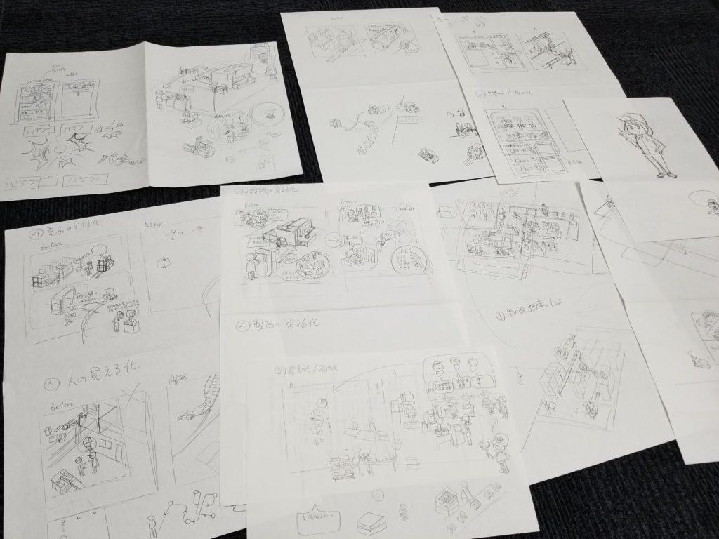 工場イラストのラフ画 | デザイズミ