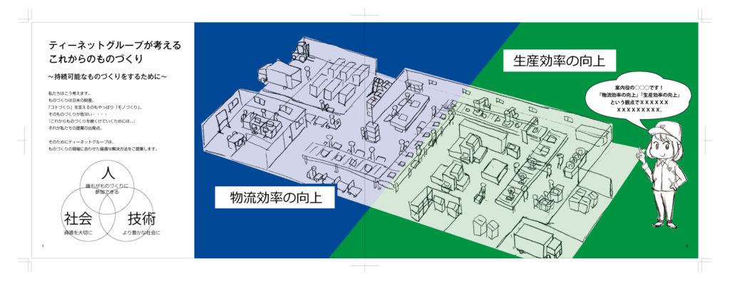 工場の俯瞰イラストのラフ画 | デザイズミ