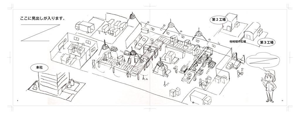 工場のソリューション導入後のイラストラフ画 | デザイズミ