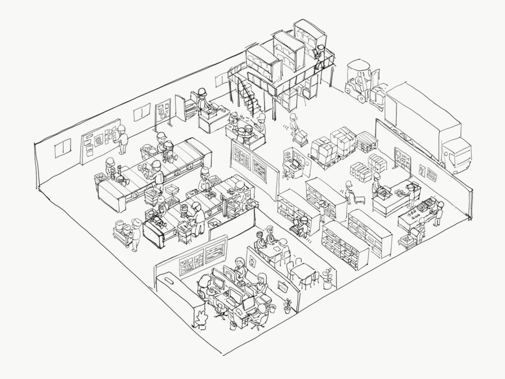 工場イラストのラフ画