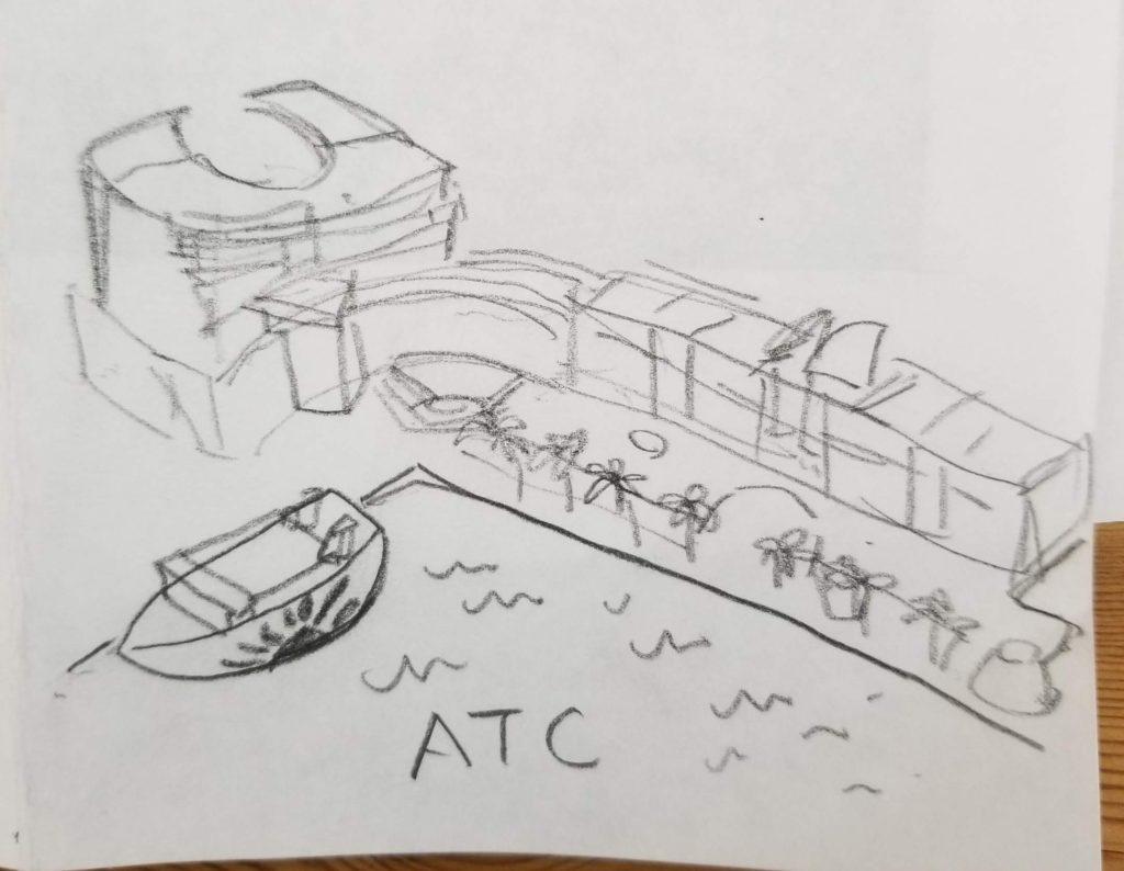 ATC イラストの手描きラフ